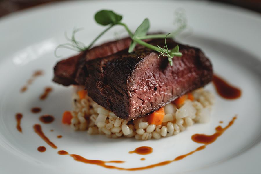 steak. pearl barley. carrot